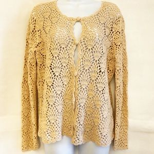 LIZ CLAIBORNE Cream Cardigan Sweater Sz L EUC